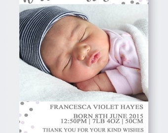 Birth Announcement Cards | Baby | Newborn | Thank You Card | Customised | Baby Girl | Baby Boy