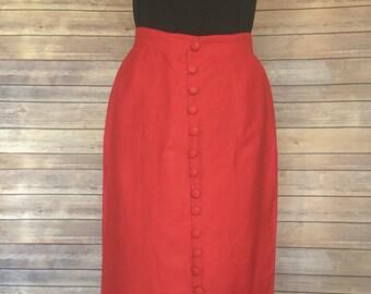 Red Pencil Skirt   1980s Skirt   Red Skirt Women's   Split Skirt   Midi Skirt   Formal Skirt   Office wear   Skirt Vintage   Pencil Skirt