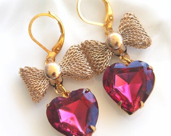 Vintage Heart Shaped Ruby Swarovski Crystal Bow earings limited