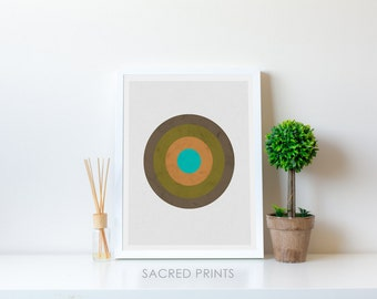 Suburban Target Digital Print, Earthy Colours Poster, Earth Tone Poster, Circle Shape Artwork, Scandi Decor, Shield Poster, Instant Download