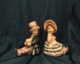 Vintage Chalkware Boy And Girl Bookends Roman Art Company Robia Ware #1429