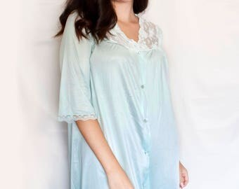 Vintage Blue Robe - Light Blue Silky Long Robe - Short Sleeves and Lace Detail - Vintage Bride Something Blue Bridal Robe - Vintage Wedding