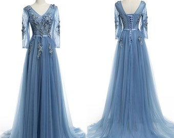 Blue Romantic Dress in Satin, Lace, Tulle with Flower Applique. Lace Up, and Transparent Tulle Sleeves with Lace Applique.