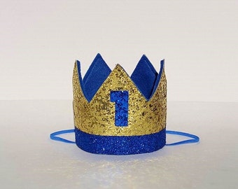 Royal Blue and Gold Baby Boy Prince Theme Birthday Party Crown for First 1st Birthday Cake Smash Photo Prop Number 1 ONE