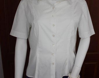 Jaeger cotton blouse, vintage white blouse, 1980's fitted blouse, white cotton shirt, office blouse, school blouse, women's white shirt