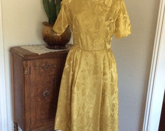 "Vintage Gold Homemade Dress 1960""s Small/Med"