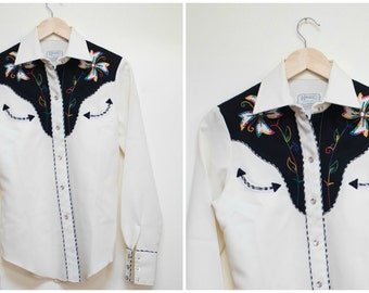 Vintage H Bar C Western Shirt Embroidered Gabardine Shirt Button Down Snap Buttons California Longtail Ranchwear White