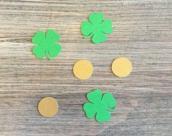 St Patrick's Day Confetti, Four Leaf Clover and Coin Confetti, Shamrock Confetti, St Paddy's Confetti, St Patty's Confetti, Irish Confetti