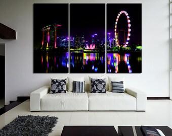 Large Wall Night Singapore Cityscape Canvas Color Multipanel Canvas Singapore View  Art Large  1-3-4-5 Panel Cityscape Print