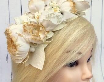 Gold flower wedding Gold accessory Bridal gold Bridal flowers Bridal Flower Crown Floral Wedding flower crown Hairband Flower hair wreath