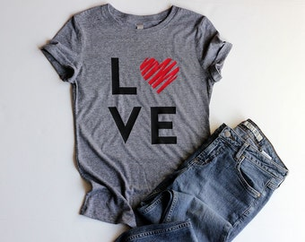 Valentine Shirts Love Shirt Junior Fitted Heart Shirts for Women Valentines Day Gift for Her Valentines Day Shirt Love Shirts Cute Shirts