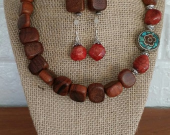 Wood Jewelry, Wood Necklace, Philippine Wood, Jewelry Set, Turquoise Necklace, Big Chunky Necklace, Red Coral Necklace, Coral Earrings,