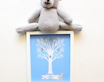 Framed New Baby Print Personalised Boy - Celebrating Martha Collection