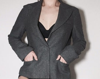 Grey one button jacket