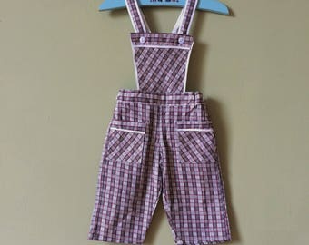 vintage baby dungarees / girls vintage dungarees / vintage baby overalls. Red check. Age 6 months - 12 months. 1970s Unworn new vintage