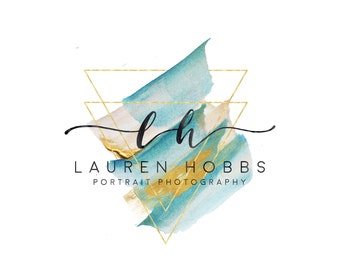 Triangle Logo and Watermark, Gold Aqua Watercolor Premade Logo Design, Photography Logo, Monogram Logo Initials Geometric Logo, Modern Logo