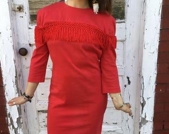 Vintage 80's Red Fringe Dress Size 7/8
