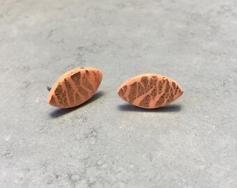 Handmade Peach and Copper Foil Polymer Clay Statement Stud Earrings