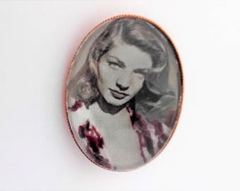 Lauren Bacall hand embroidered brooch