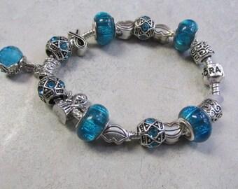 Pandora Snake Chain, Lake Blue Crystal, and Silver, European Charm Bracelet #113