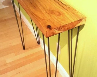 Reclaimed Barn Wood Modern Rustic Console Table, Entry Table, Sofa Table, Industrial Table, 3 Rod Hairpin Legs - Custom