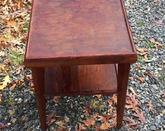 Vintage Cherry Stained Arts & Crafts Table, Solid Wood, Rustic End Table, Primitive Table, Double Table