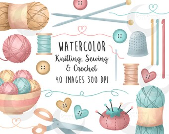 Crafts Clipart Knitting, Sewing and Crochet Watercolor Set - Commercial Use