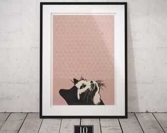 Cat Print, Pink Cat Poster, Modern Wall Art, Nursery Wall Decor
