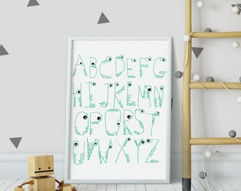 Monster ABC print ~ Nursery decor ~ Kids wall art ~ Home decor ~ Alphabet art print ~ Modern wall art ~ Birthday gift ~ Hoard Pretty Things