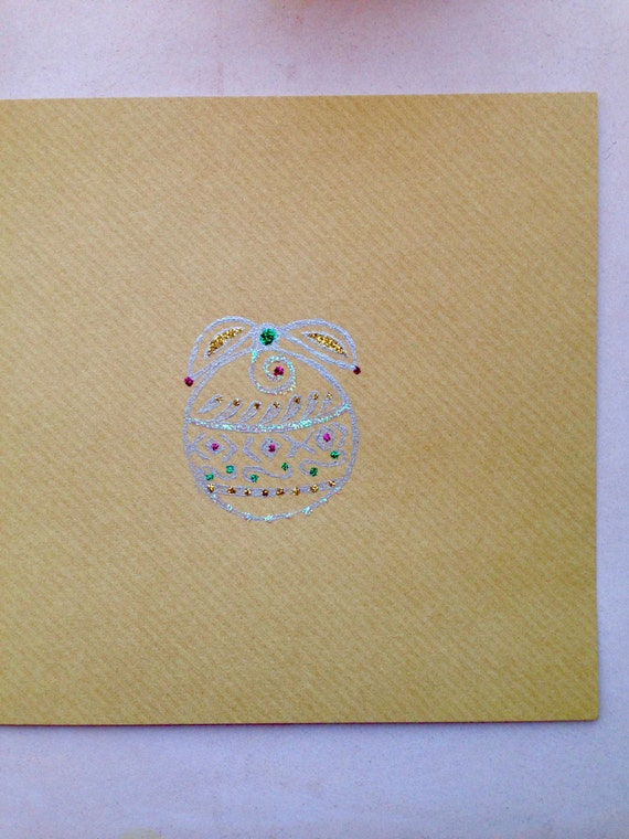 Unique Handmade Christmas Card, Christmas Bauble, Festive Card, Multicoloured Glitter