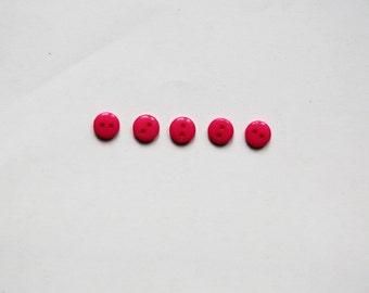 Set: 5 round fuchsia buttons