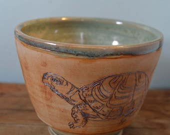 Handmade Turtle Bowl, Green and natural clay.
