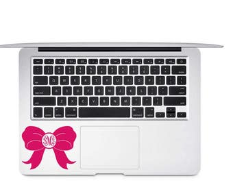 Bow Monogram Decal - Monogram Bow Vinyl Decal - Bow Car Decal - Personalized Bow Decal - Bow Laptop Decal - Bow Decal - Custom Bow Decal