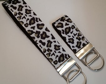 Leopard Animal Print Wristlet Keychain, mini Key Fob, bag pull, zipper pull.