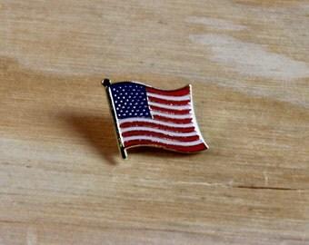 AMERICAN FLAG PIN: Handmade American Flag Gold Metal + Red, White & Blue Enamel Pin