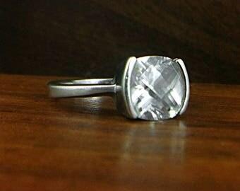 925 Sterling Silver Rhinestone Ring - Size 8.5
