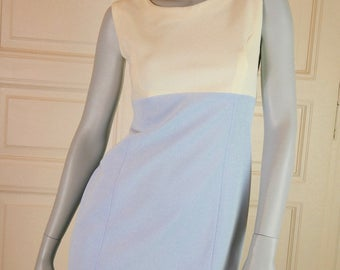 European Vintage Sheath Dress, Sleeveless Dress, Color Block Blue White Mini Dress, Polyester,  Powder Blue: Size 8 (US), Size 12 (UK)
