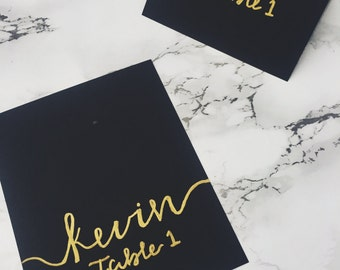 Black and Gold -Hand Lettered Place Cards
