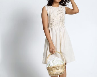 Beige Cotton Shift Dress