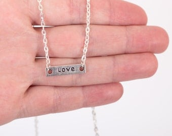 Love Script Necklace, Gift for Her, Dainty Necklace, Simple Jewelry
