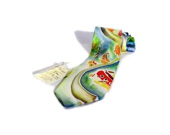 "Hand painted silk tie--""landscape"""