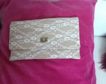 Handmade Burlap white Lace faced clutch bag