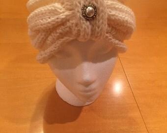 Handmade Cream Knit Head Wrap
