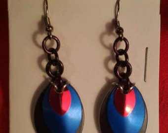 Black/Blue/Red 3 Graduated Scale Earrings