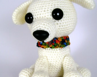 Small White Crochet Amigurumi Puppy Dog