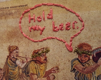 "Embroidered Postcard - ""Hold my beer"""