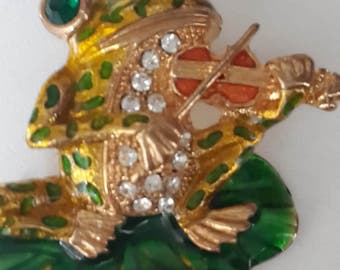 A rare collectible brooch frog