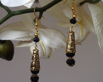 Black drop earrings long earrings dangle earrings