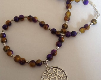 Purple beaded necklace pendant necklace beaded necklace handmade necklace statement necklace