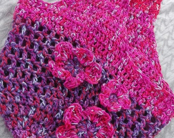 Crochet, pink, purple bag with flower